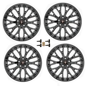 "2015-16 Mustang GT 19"" Staggered Performance Pack Wheel Set Matte Black"