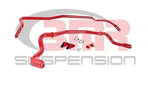 BMR 2015-2017 Front & Rear Sway Bar Kit with Bushings - Red